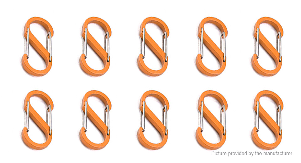 S-shaped Double Gated Carabiner Keychain Hook Clip Buckle (Size S)