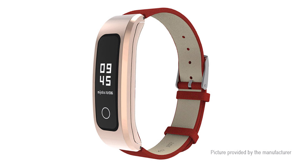 MIJOBS Replacement Leather Wristband Strap for Huawei Honor Band 4 Running Version