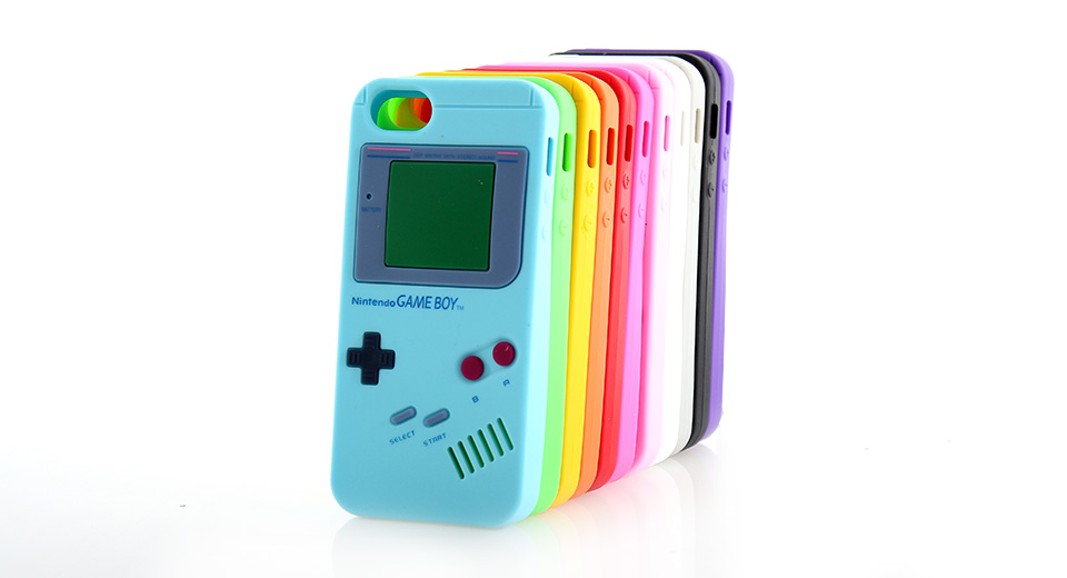 Blue GameBoy Console Style Silicone Protective Case for iPhone 5 -Blue