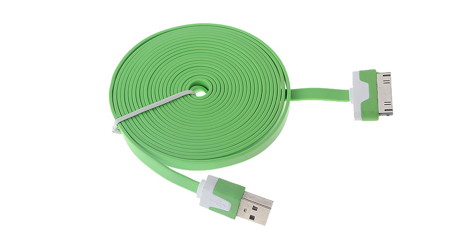 Flat USB Data/Charging Cable for iPhone iPod - Green (3