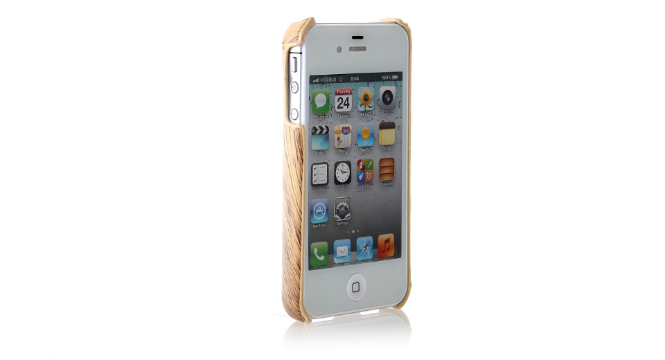 Wood Pattern PVC Protective Case for iPhone 4/4S PVC ma