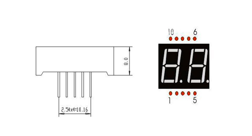 1 77 0 56 u0026quot  2-digit seven-segment numeric display - red  5-pack  5-pack