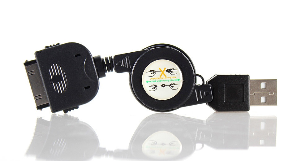 Retractable 30-pin Data USB Cable for iPhone iPad & iPo