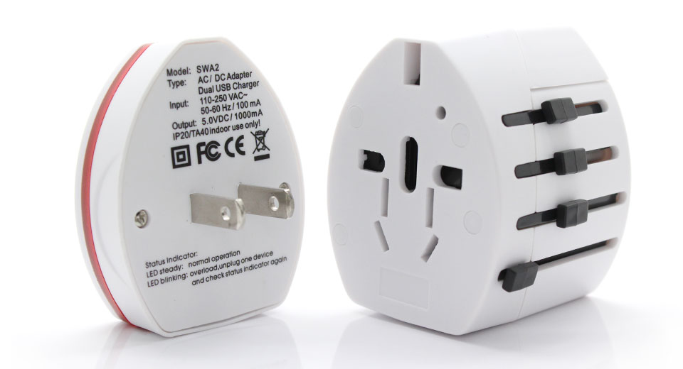 Universal USB Travel AC Power Adapter