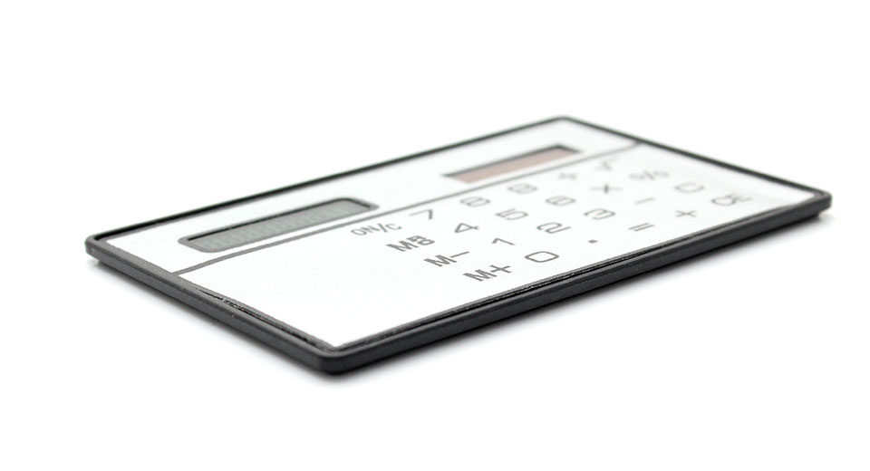 Solar Powered Touch Sensitive Calculator (White) credit