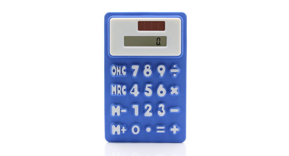 Solar Powered Silicone Desktop Calculator tactile butto