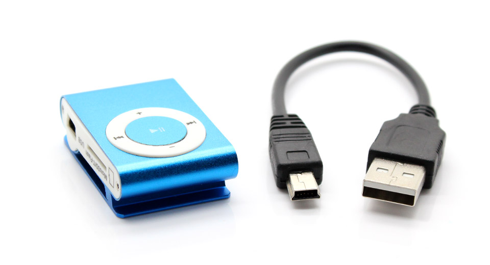 USB Rechargeable Mini Screen-free Clip MP3 Player blue