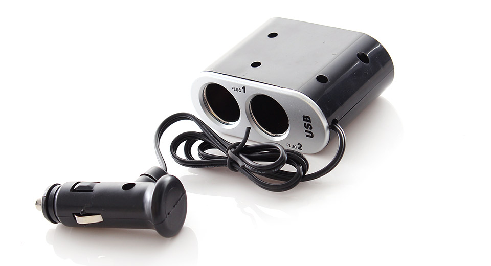 Two Sockets USB Car Cigarette Powered Charger Adapter w