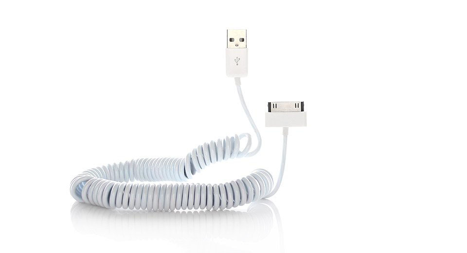 USB Charging Coiled Cable for iPhone / iPod / iPad (300