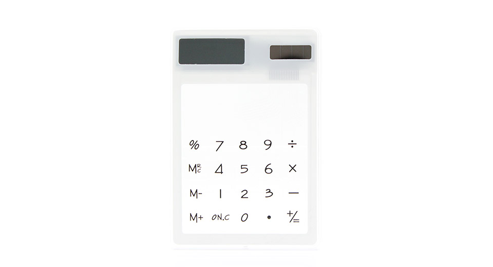 Solar Powered Touch Screen Calculator transparent