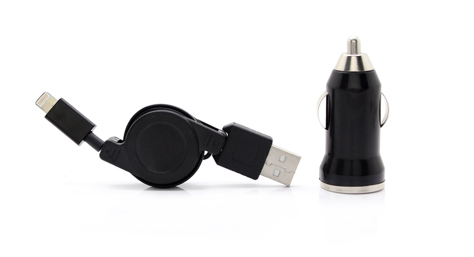 Mini Car Adapter/Charger + Retractable USB to 8-Pin Cab