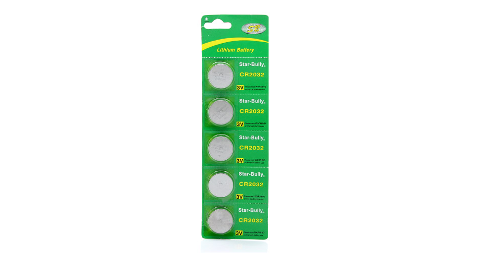 Star Bully CR2032 3V Cell Buttons Batteries (5-Piece Pa