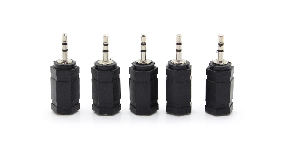 2.5mm Male to 3.5mm Female Convertor (5 pack) black