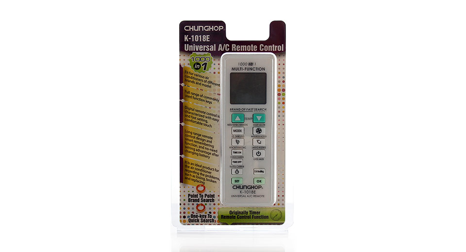 "Universal 1.6"" LCD Air Conditioner Remote Control K-101"
