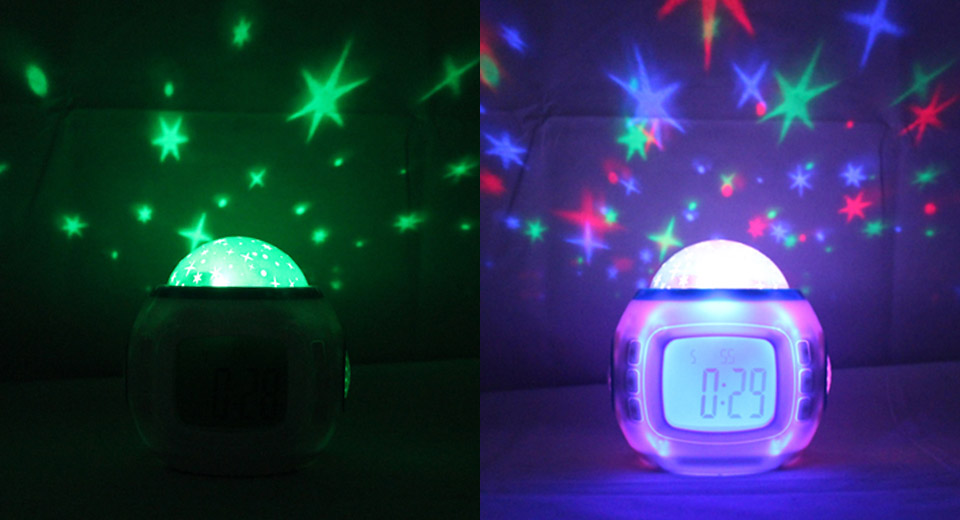 "2.1"" LED Music and Starry Sky Alarm Clock"