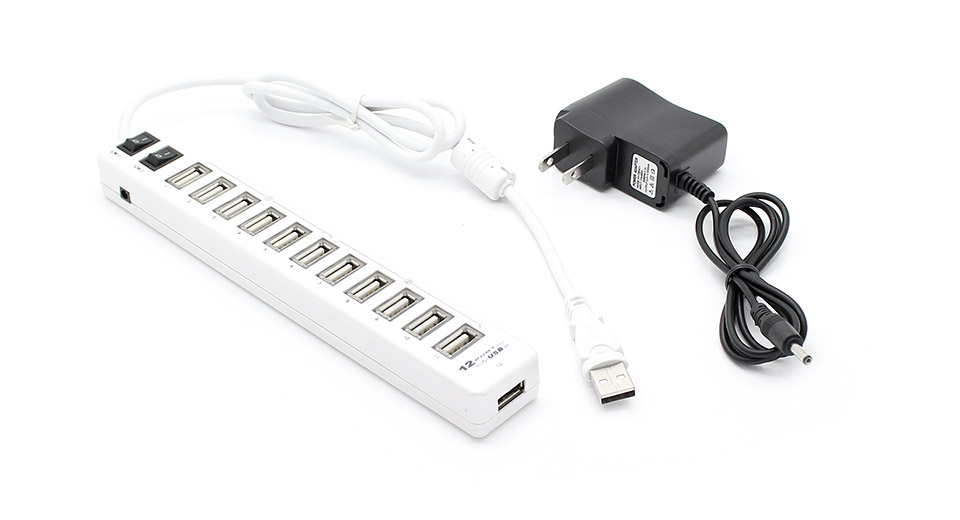 Dual Switch 12-Port USB 2.0 Hub w/ AC Power Charger (Wh