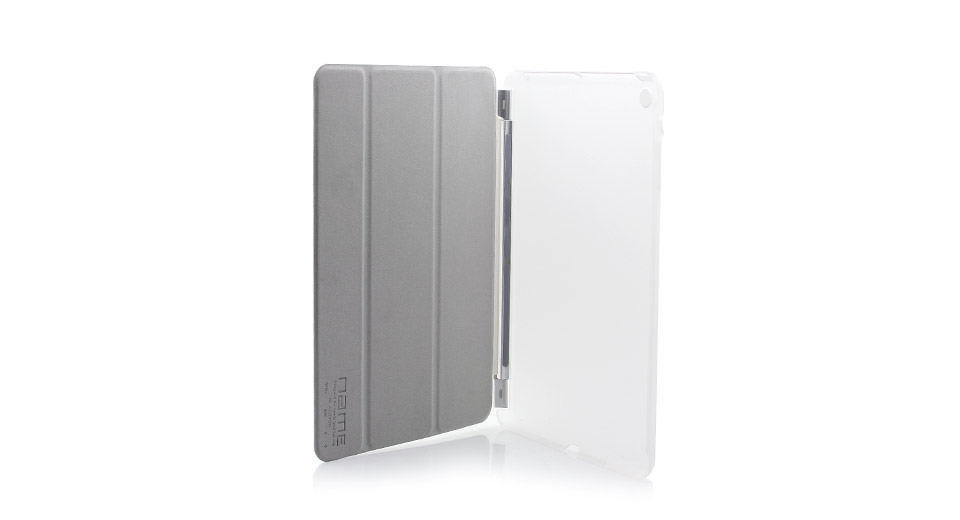 Protective PVC + PU Leather Case w/ Smart Cover for iPa