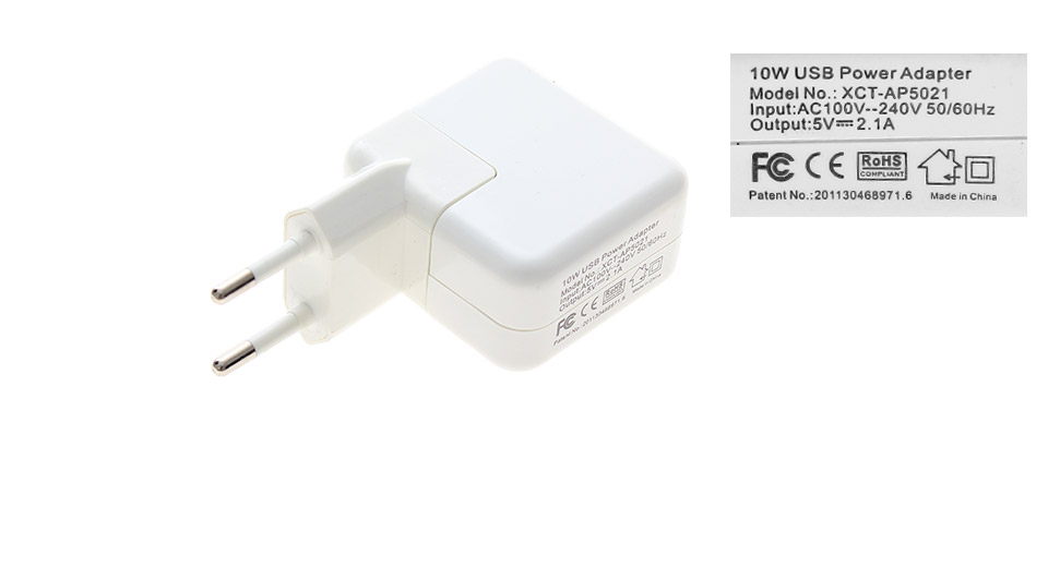 Universal 2.1A Dual USB AC Power Adapter Wall Charger (