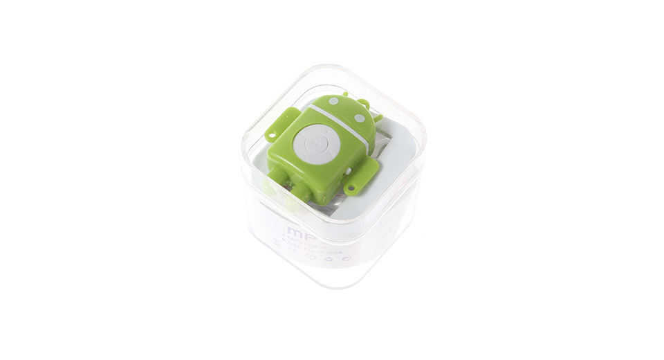Android Robot Style Portable MP3 Music Player with micr