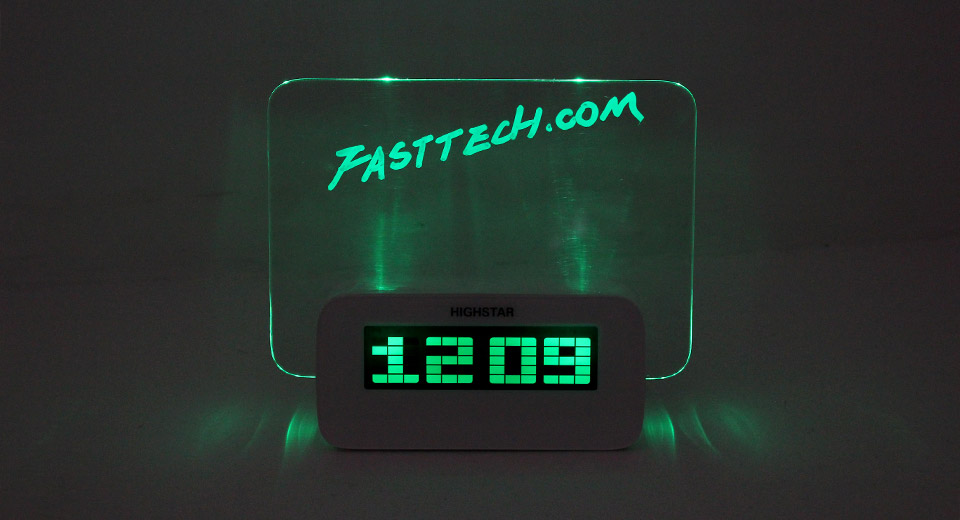 Highstar Green Backlight Message Board Alarm Clock