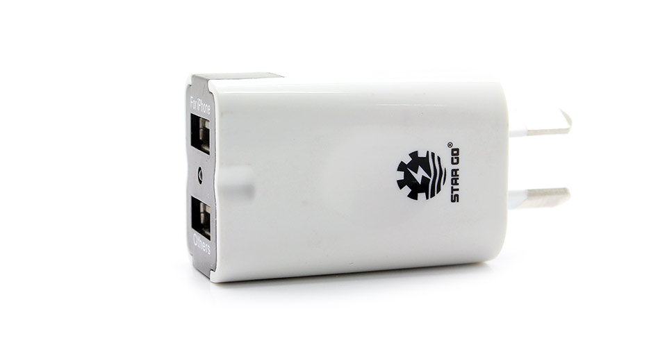 XH-12 Dual USB 2.1A Charger for iPhone 5/Samsung white