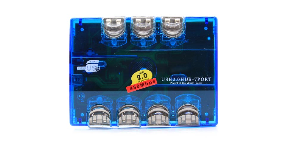 USB 2.0 High Speed 7-Port Hub blue / 480Mbps
