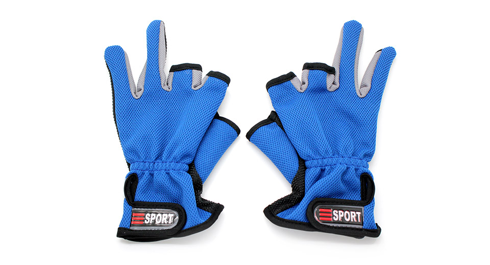 Professional Two Fingers Fishing Anti-Slip Gloves blue