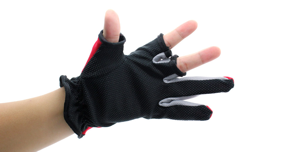 Professional Two Fingers Fishing Anti-Slip Gloves red