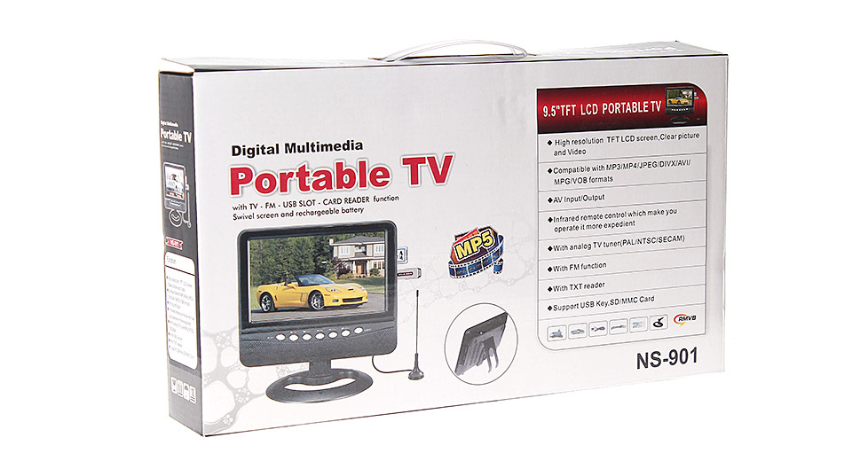 9-inch TFT LCD Portable Multimedia TV w/ Radio Function