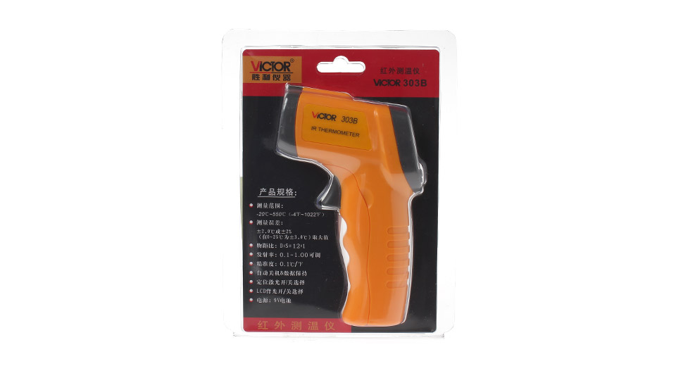 """VICTOR 303B Handheld 1.25"""" LCD Infrared Thermometer bla"""