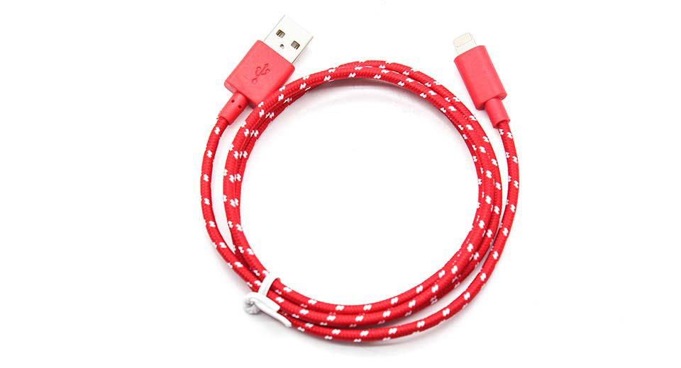 Product Image: 8-pin-male-to-usb-male-braided-data-cable-for