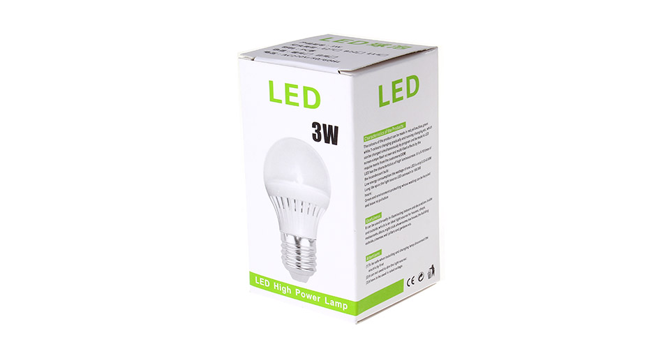 E27 3W 180LM 6000-6500K Pure White Energy Saving LED Li
