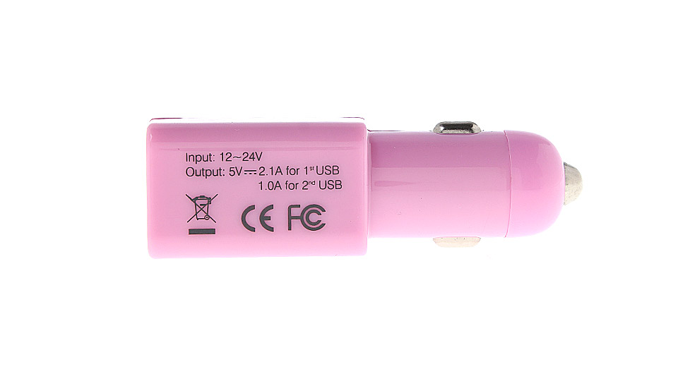Dual USB Car Cigarette Lighter Charger Adapter pink / 1