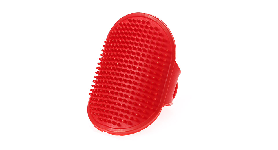 Rubber Pet Grooming Bath Brush Massage Comb red
