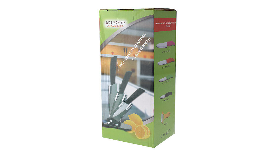 "3""/4""/5""/6"" ZrO2 Ceramic Fixed Blade Kitchen Fruit Knives + Peeler Set"