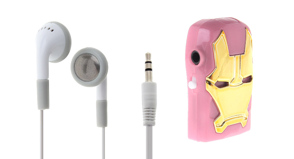 USB Rechargeable microSD Card MP3 Player pink