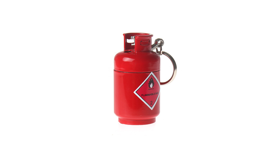 Gas Tank Style Butane Gas Lighter w/ Keyring red