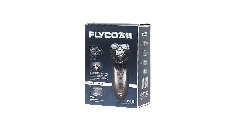 FLYCO FS355 Rechargeable Electronic 3-Head Rotary Shaver w/ Trimmer