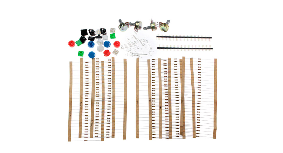 A1 Universal Carbon Resisters + Rotary Potentiometers Parts Set for Arduino