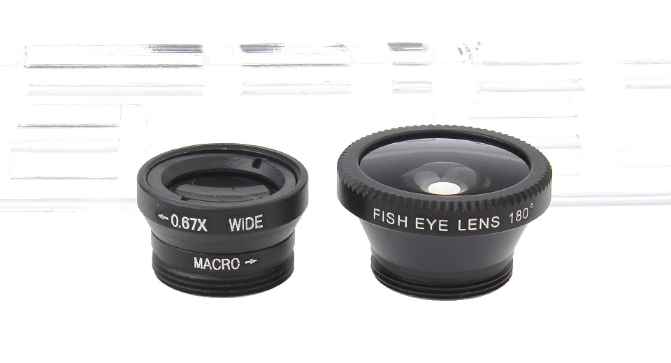 LP-3001 Universal 3-in-1 Clip-On Fisheye + Wide Angle + Macro Lens Set