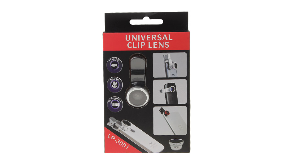LP-3001 Universal 3-in-1 Clip-On Fisheye + Wide Angle ...