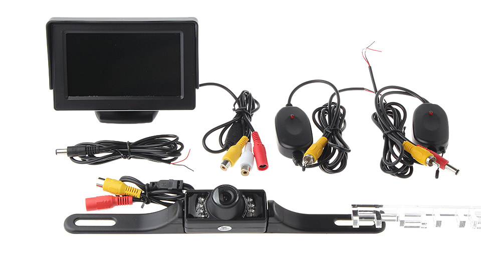 "4.3"" TFT LCD Car Rearview Monitor + Camera w/ Long Bracket Kit"
