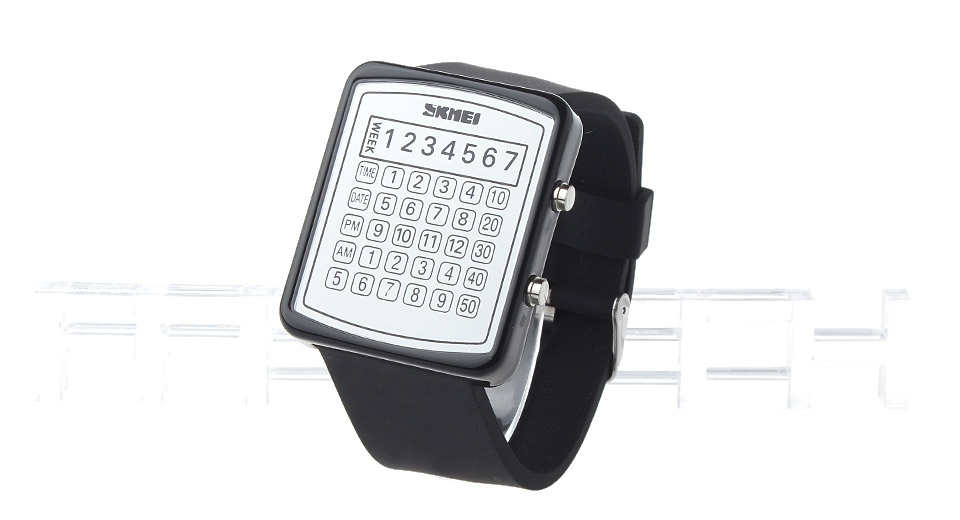 Skmei 0987 Unisex Caculator Design Waterproof LED Digital Wrist Watch