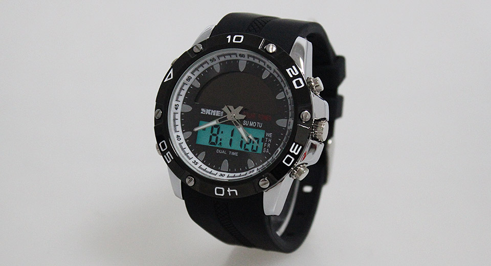 Skmei 1064 Solar Power Men's Waterproof Analog + LED Digital Dual Mode Wrist Watch