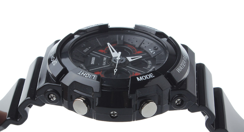 Skmei 0966 Unisex Sports Waterproof Analog + Digital Dual Mode Wrist Watch