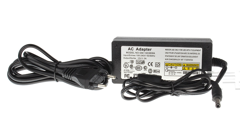 gm 12036wa 12v 3a power supply brick ac adapter