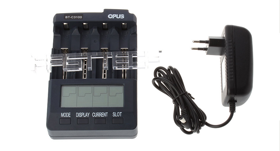 Authentic OPUS BT-C3100 V2 2 4-Slot Li-Ion Ni-MH Ni-Cd Battery Charger