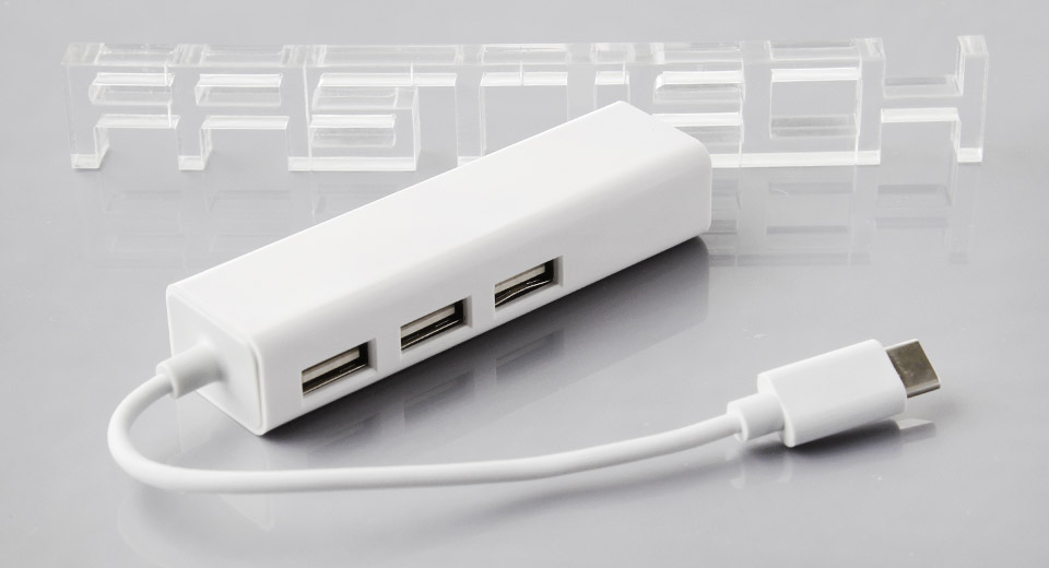 USB-C Male to 3-Port USB 2.0 Female Hub w/ RJ45 Port