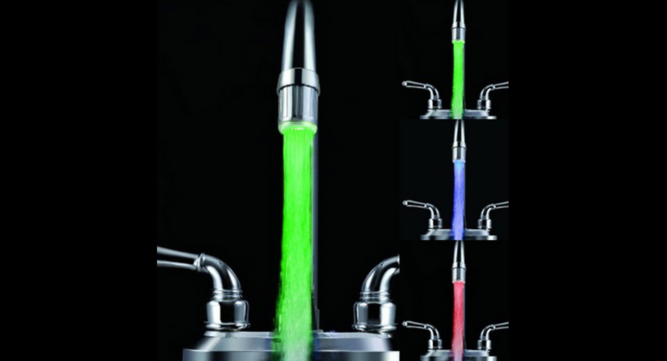 LD8001-A6 Automatic Color Changing Temperature Control LED Faucet Light (RGB Color)