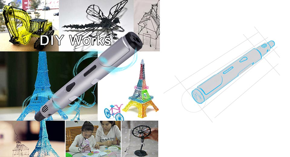 Adjustable Handheld 3D Stereo Printing Drawing Pen for Doodling